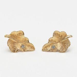 Small Gold Leaf w/ Rhinestone Accent Earrings